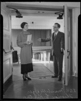 Theodore L. Kistner and Maribelle Dyer open the new Norwalk High School auditorium, Norwalk, 1936