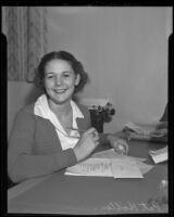 First female newspaper editor Pat Hollen of Van Nuys High School, Los Angeles, 1936