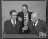 Three miners, Charles Boyd, John Herrod and Peter Flury, examine gold pieces, Los Angeles, 1936