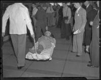 Barbara Ward who fainted during a bank robbery, Los Angeles, 1936