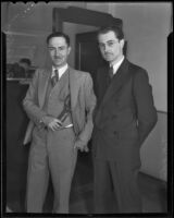 Bank manager T. H. Holmes and cashier A. R. Collins, Los Angeles, 1936