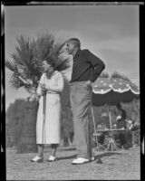 Mr. and Mrs. Willard and Helen Shepherd on the golf course, Los Angeles, 1936