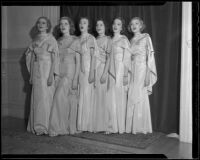 Choir girls Gertrude Elshire, Barbara Lynn, Dorothy Dahl, Mary Hapcraft, Rosemary Perrins, and Beatrice Wagner, Los Angeles, 1936