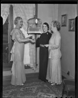 Bertha Detling, Josephine Zobelein and Frances Kupfer plan to host a tea and reception for new members of the Catholic Women's Club, Los Angeles, 1936