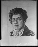 A drawing of Paul Keast as Franz Schubert, Inglewood, 1936