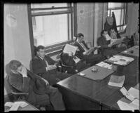 J. O. Shapiro, Paul McDonald, Harry Regan, Everett J. Randall, Jack Armel, and James Mitchell are held in custody on charges of racketeering, Los Angeles, 1936