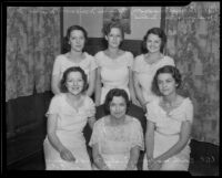 Sisters Bernice, Frances, Marjorie, Edith, Evelyn, and Alice Maxson are all members of the Order of the Eastern Star, Baldwin Park, 1936