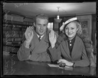 Lester Rollo Stoefen and Ruth Henrietta Moody apply for their marriage license, Los Angeles, 1936