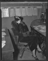 Bank Robber Frank Forrest Smith's wife Madeline Harrison waits to be questioned, Los Angeles, 1936