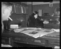 Bank Robber Frank Forrest Smith's wife Madeline Harrison is questioned, Los Angeles, 1936