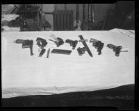 Guns from the Southern County Bank robbery, El Monte, 1936