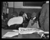 Charlotte M. Yates, E. Carl Yates, Jr., and Betty Jane Yates at bank robbery hearing, El Monte, 1936