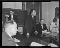 Frank F. Smith in court for fatal bank robbery, El Monte, 1936