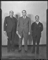 Col. Carlos Reyes Aviles, Gen. Gildardo Magana, and Atty. N. Molina Enriquez, Los Angeles, 1936
