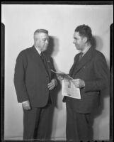 General Gabriel Gavira and Secretary-General Jose Maria Mendoza Pardo visit California, Los Angeles, 1936