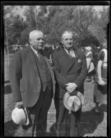 Judge Edmund Nichols and Fred B. Cruikshank at the Iowans picnic, Los Angeles, 1936