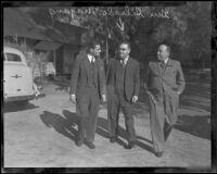 Gov. Gildardo Magana and Col. Carlos Reyes Aviles at picnic, Los Angeles, 1936