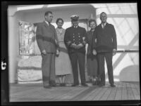 Captain Gustaf Klang arrives in California with Mr. and Mrs. James K. Ingham and Mr. and Mrs. Joseph and Pauline Hare, San Pedro, 1936