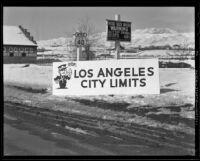 Los Angeles City Limits sign in Reno, Nevada, 1936