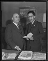 Mayor Shaw and Mexican Consul Alejandro Gómez Maganda, Los Angeles, 1936