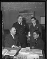 Mayor Shaw, Police Chief Davis, and Consul Ricardo Hill welcome new Mexican Con-Consul Alejandro Gómez Maganda, Los Angeles, 1936