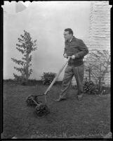 Boxer Jimmy McLarnin mows his lawn, Beverly Hills, 1936