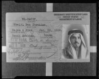 Passport of Khalil Ben El-Raoif, Los Angeles, 1936