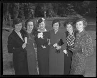 Junior Hostesses of the University Religious Conference Jane Sturdy, Minnie Elmendorf, Margaret Capps, Betty Jones, Mrs. Frederic Baumstark and Mrs. Edwin Kraft, Los Angeles, 1936