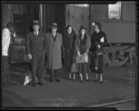 Secretary of the Treasury with his wife Dorothy Mills, Mr. and Mrs. John and Josephine Fell, and his stepdaughter Dorothy Mills, Los Angeles, 1936