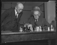 J. L. Larson and Edwin Hildreth play chess in the game room of the Los Angeles Chess and Checkers Club, Los Angeles, 1936