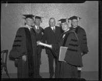 Herbert Hoover and other academics come to honor Dr. James Blaisdell, Claremont, 1936