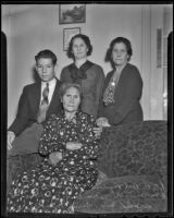 Home is shared by Bob Merriweather, his mother Sarah Merriweather, her mother Emily Mendonca, and her mother, Sarah Mendez, San Fernando, 1936