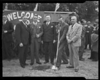 Ground-breaking ceremony attended by Albert Daniels, Baldwin M. Baldwin, Major T. D. Weaver, Herbert C. Legg, and J. K. Reed, Arcadia, 1936