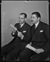 James H. Phillips and E.A.C. Hammond, Jr., look for party supporters, Los Angeles, 1936