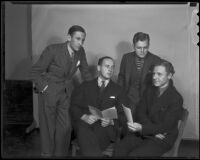 Australian debate champions Colin G. McAuliffe and Nevil F. Stuart with Trojan debaters Fred Hall and James W. Kirkwood, Los Angeles, 1936