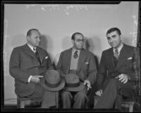 Enrique Macagno, Emilio Mallol, and Federico Ramos Ruiz gather together at the Biltmore Hotel, Los Angeles, 1936