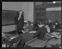 Reverend Charles Leahy teaches against communism, Los Angeles, 1936
