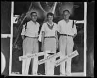 Test pilot Marshall Headle poses with aviators Amelia Earhart and Paul Mantz, Burbank, 1936