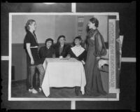 Fashion luncheon with the Hollywood Opera Reading Club members Carletta Orr, Elizabeth Hofert, Mrs. Lewis Jacques, Kathryn Kibler, and Rita Hale, Hollywood, 1936