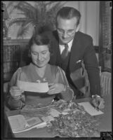 Bernard J. Parchman and Evelyn Fichman review Mary Kinne's savings, Los Angeles, 1934
