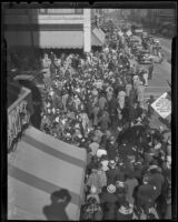 A crowd of shoppers at Merchants' Dollar Day in downtown, Los Angeles, 1936