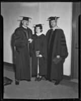 Eleanor Lee and Dr. Ralph H. Bush are congratulated by Dr. Clarence Thurber, Redlands, 1936