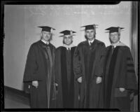 Dr. Clarence Thurber, Dr. Charles B. Lipman, Dr. Mattison B. Jones, and Dr. R. H. Rush at University of Redlands celebration, Redlands, 1936