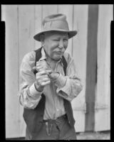 Uncle Billy Adams, 98 years old, recovers from a flu attack, Fullerton, 1936