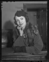 Bernice Wilda Wheeler nee Speer appears in divorce court, Los Angeles, 1936