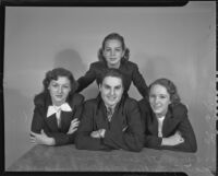 Singer Buron Dahl posing with Harriett Scott, Margery Fuller, and Bette Ann Carvel, Los Angeles, 1936