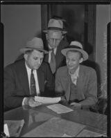 Detective Lieutenant Miles Ledbetter, John C. Hawkins, and Det. Lt. D. R. Patton, Los Angeles, 1936