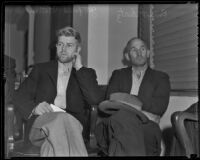 Suspects Fred Stettler and Emyt Lentz (Sokolis) in court for the murder of Mr. and Mrs. Carl Barbour, Los Angeles, 1936