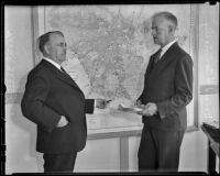 Mayor Frank L. Shaw and Lieut. Col. Donald H. Connolly, Los Angeles, 1936