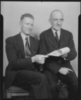 Thomas E. Campbell and George I. Holmes discuss mining, Prescott, 1936